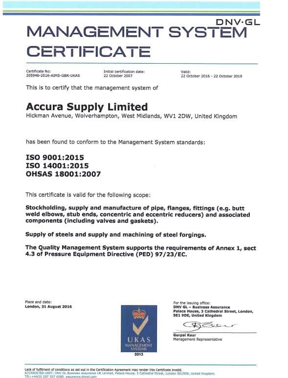 Accura Supply Limited Achieve the ISO 9001: 2015 Standard